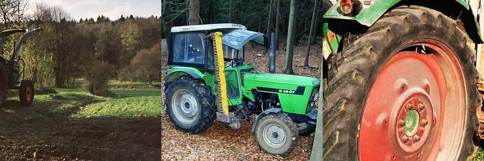 Traktor am Feld - im Wald - Reifen Closeup